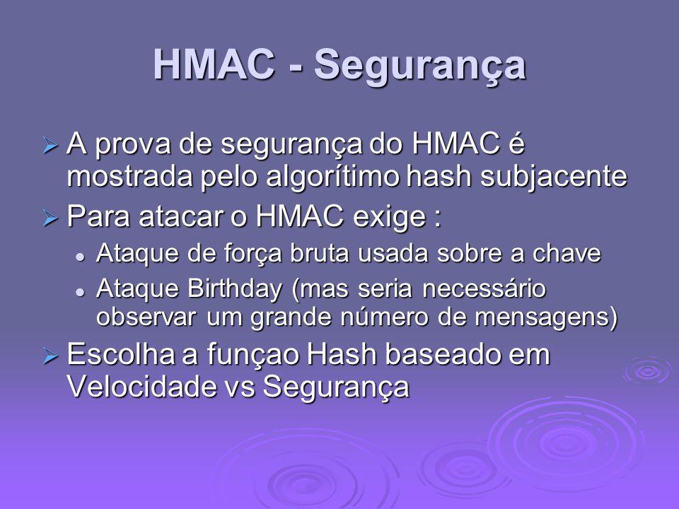 HMAC - Segurança A prova de segurança do HMAC é mostrada pelo algorítimo hash subjacente. Para atacar o HMAC exige :