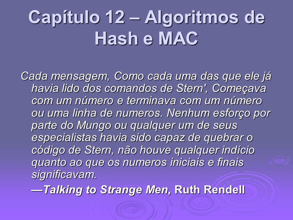 Capítulo 12 – Algoritmos de Hash e MAC