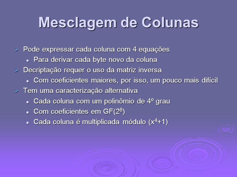 Mesclagem de Colunas Pode expressar cada coluna com 4 equações
