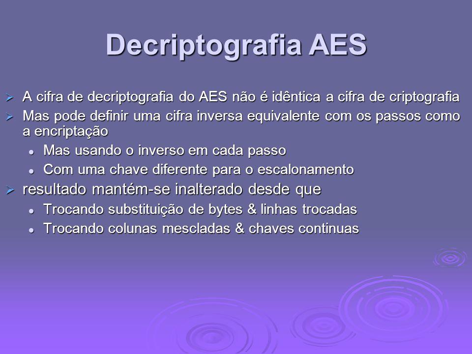 Decriptografia AES resultado mantém-se inalterado desde que