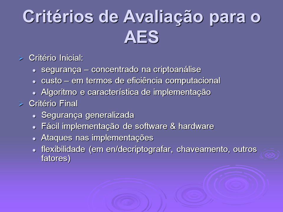 Critérios de Avaliação para o AES