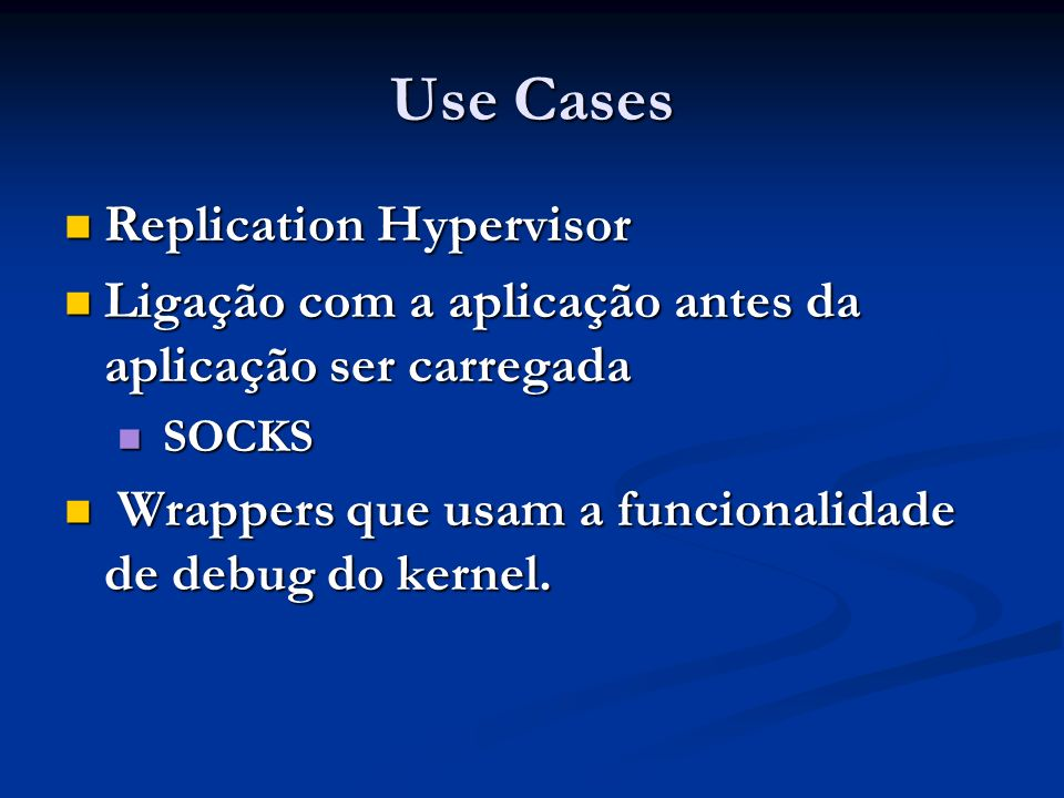 Use Cases Replication Hypervisor