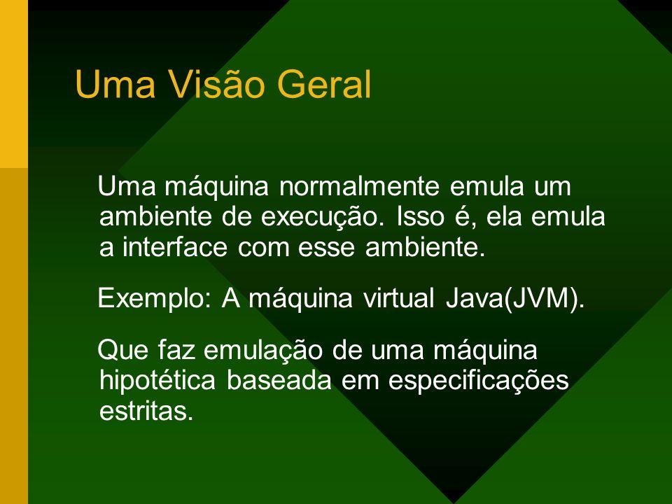 Uma Visão GeralUma máquina normalmente emula um ambiente de execução. Isso é, ela emula a interface com esse ambiente.