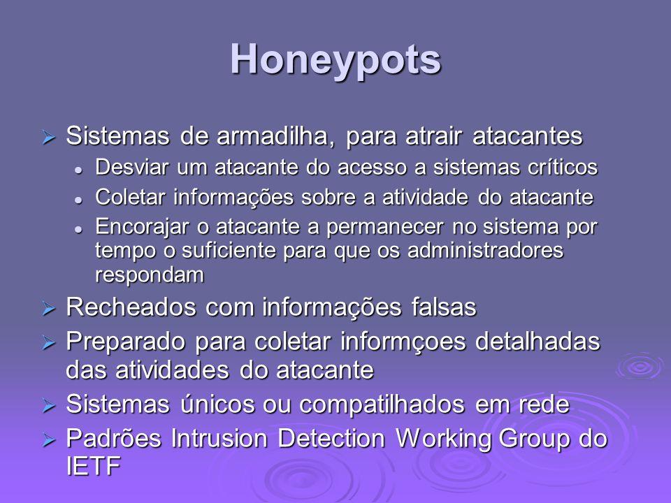 Honeypots Sistemas de armadilha, para atrair atacantes