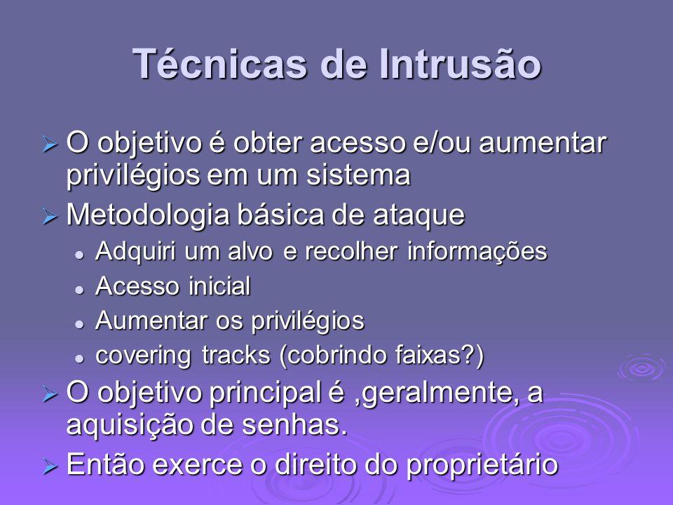 Técnicas de Intrusão O objetivo é obter acesso e/ou aumentar privilégios em um sistema. Metodologia básica de ataque.