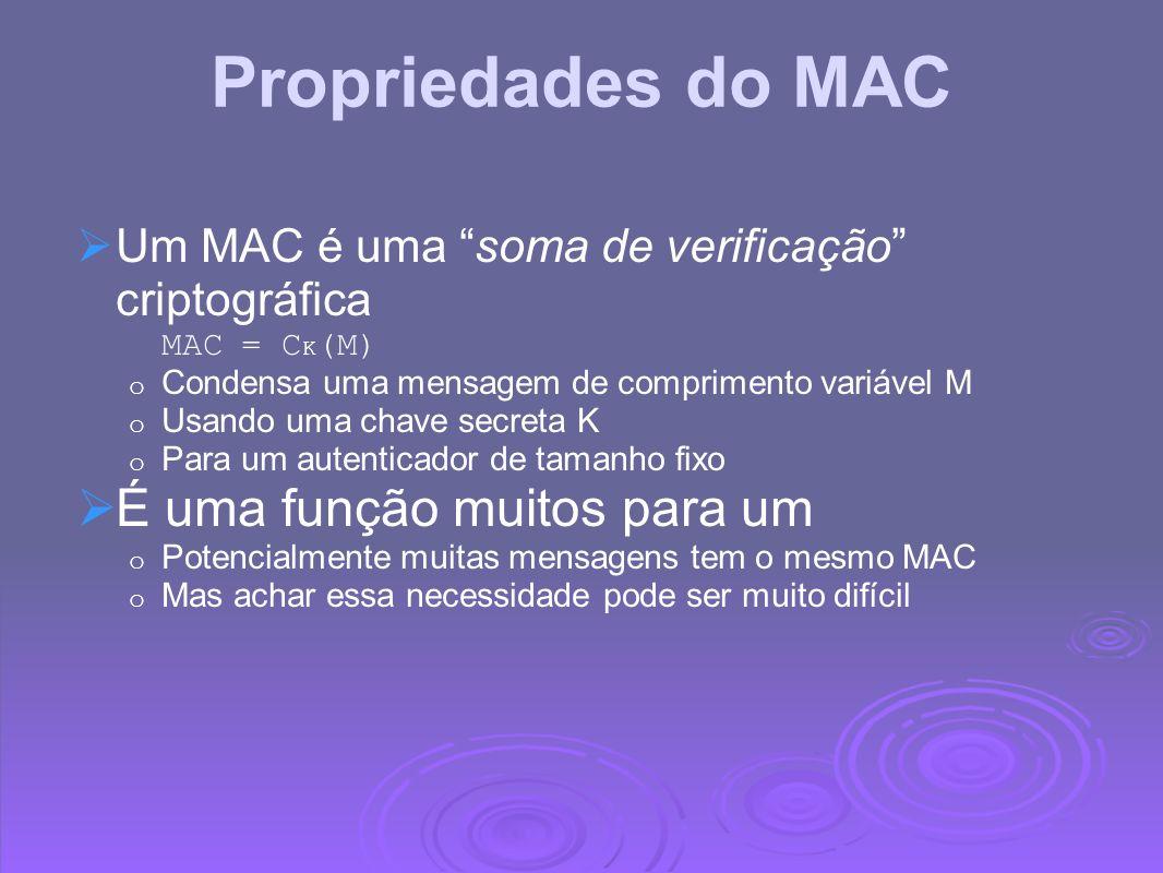Propriedades do MAC É uma função muitos para um