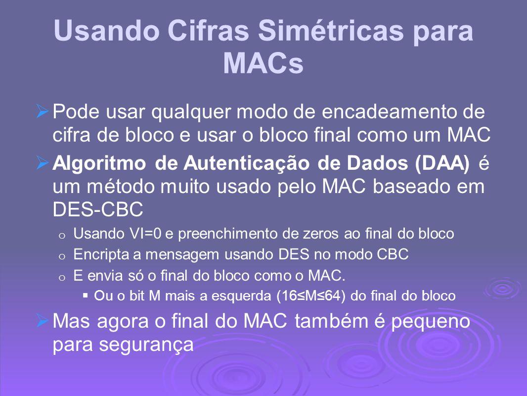 Usando Cifras Simétricas para MACs