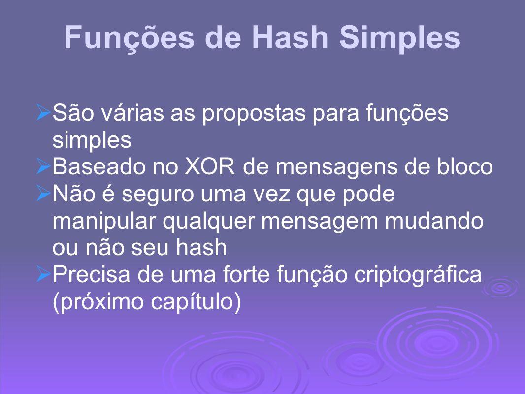 Funções de Hash Simples