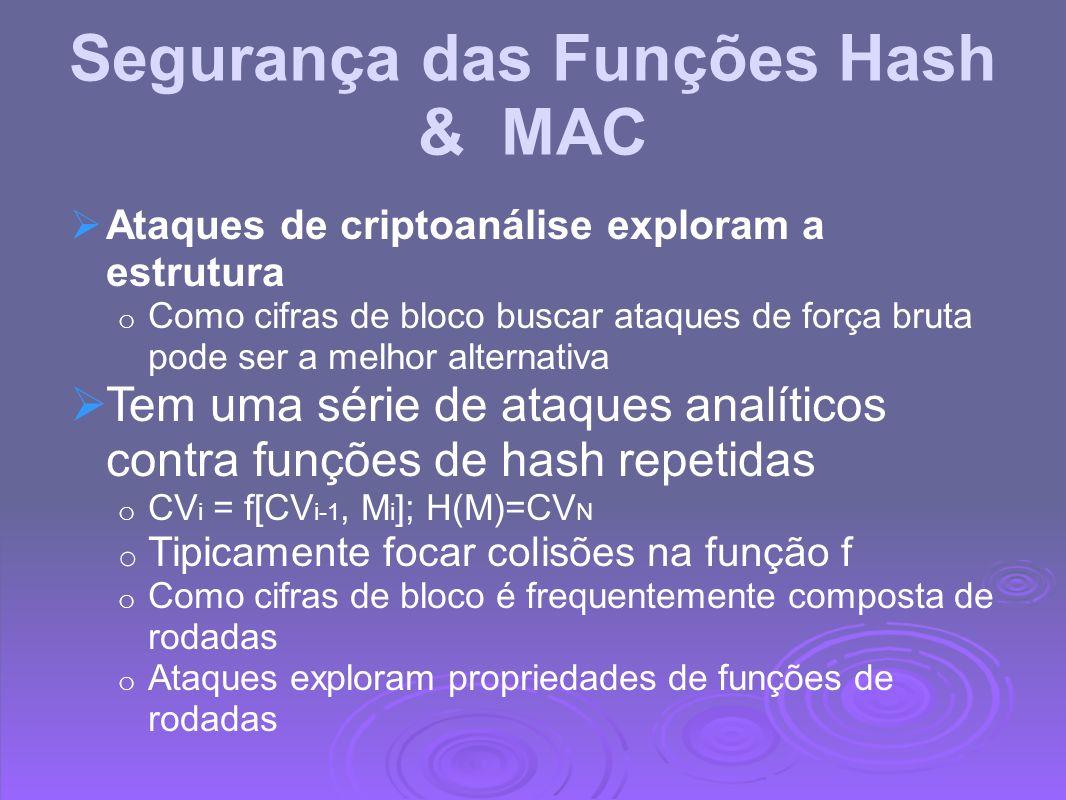 Segurança das Funções Hash & MAC