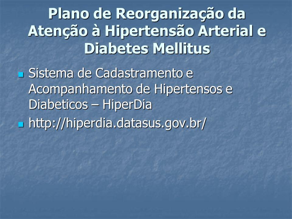 Plano de Reorganização da Atenção à Hipertensão Arterial e Diabetes Mellitus