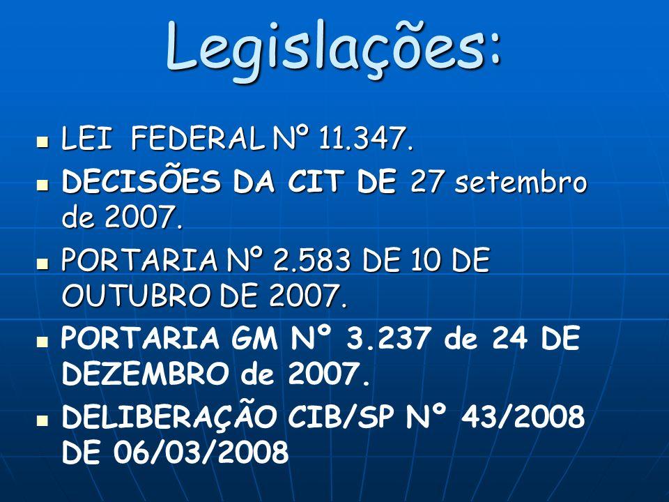 Legislações: LEI FEDERAL Nº 11.347.