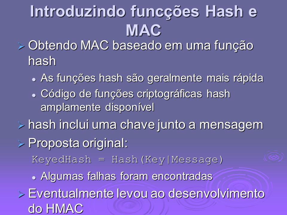 Introduzindo funcções Hash e MAC
