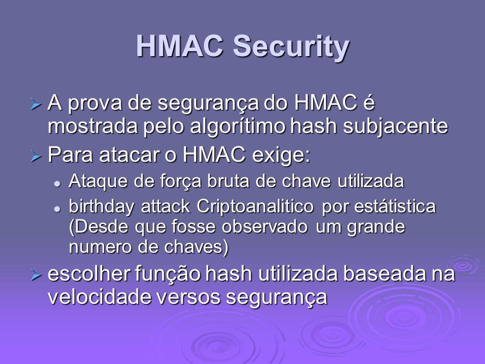 HMAC Security A prova de segurança do HMAC é mostrada pelo algorítimo hash subjacente. Para atacar o HMAC exige: