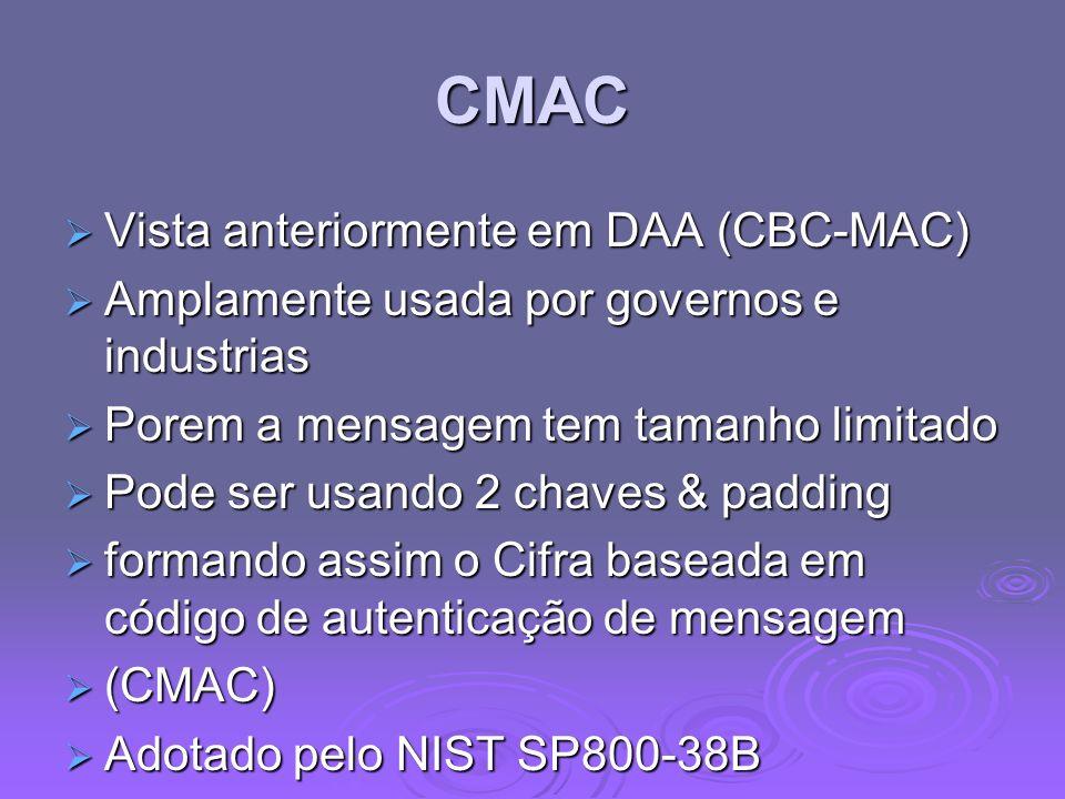 CMAC Vista anteriormente em DAA (CBC-MAC)