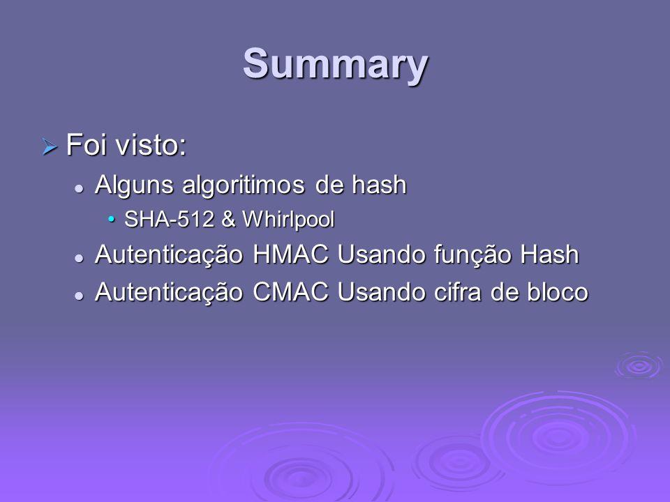 Summary Foi visto: Alguns algoritimos de hash