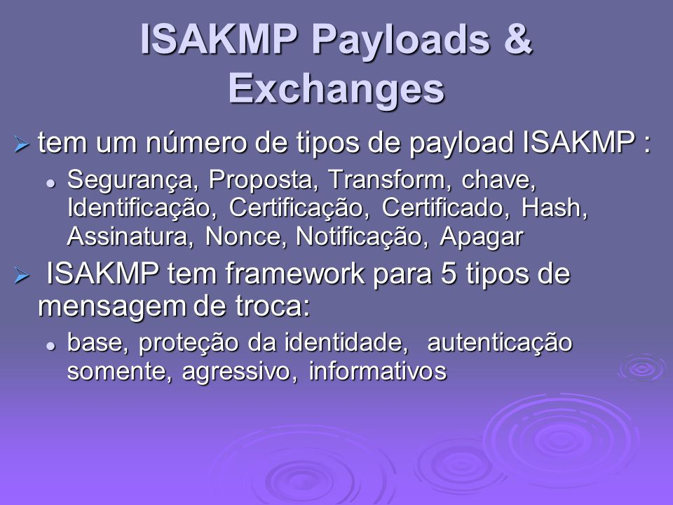 ISAKMP Payloads & Exchanges
