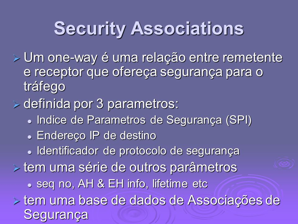 Security Associations