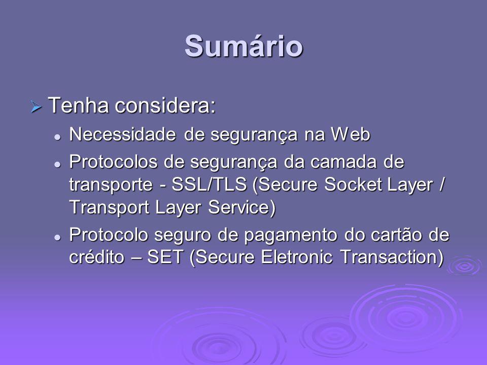 Sumário Tenha considera: Necessidade de segurança na Web