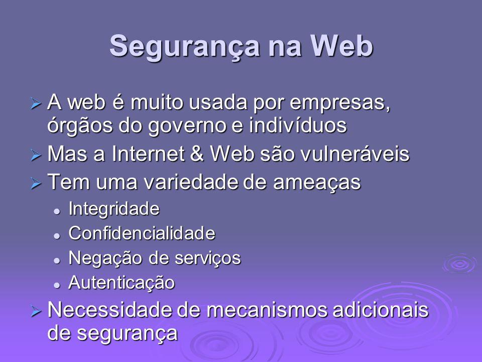Segurança na Web A web é muito usada por empresas, órgãos do governo e indivíduos. Mas a Internet & Web são vulneráveis.
