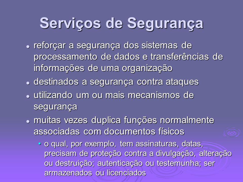 Serviços de Segurançareforçar a segurança dos sistemas de processamento de dados e transferências de informações de uma organização.