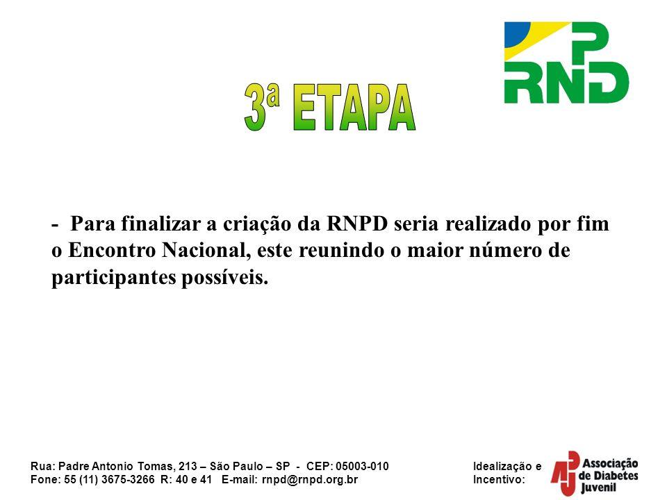 3ª ETAPA - Para finalizar a criação da RNPD seria realizado por fim o Encontro Nacional, este reunindo o maior número de participantes possíveis.