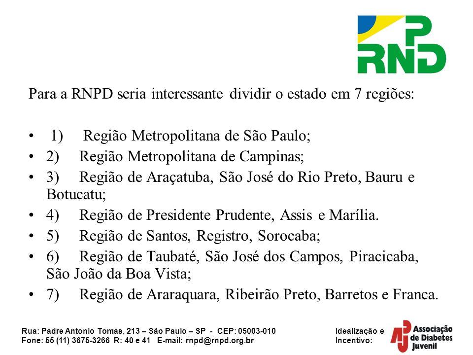 Para a RNPD seria interessante dividir o estado em 7 regiões: