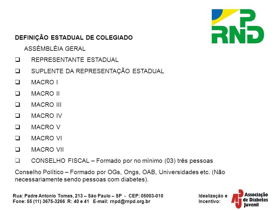 DEFINIÇÃO ESTADUAL DE COLEGIADO ASSÉMBLÉIA GERAL