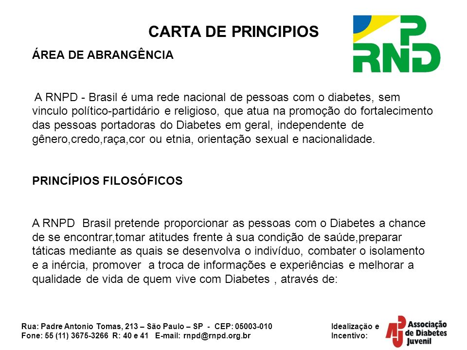 CARTA DE PRINCIPIOS ÁREA DE ABRANGÊNCIA