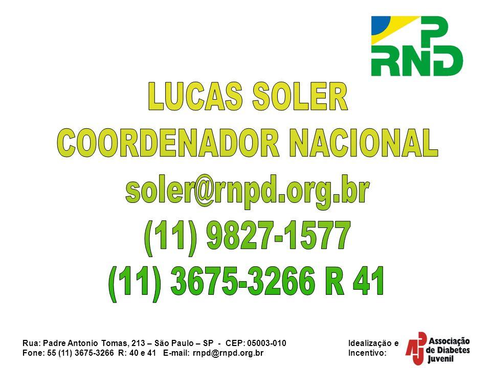 LUCAS SOLER COORDENADOR NACIONAL soler@rnpd.org.br (11) 9827-1577