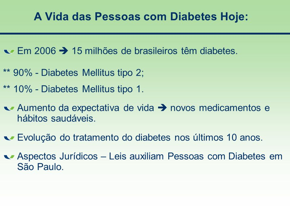 A Vida das Pessoas com Diabetes Hoje:
