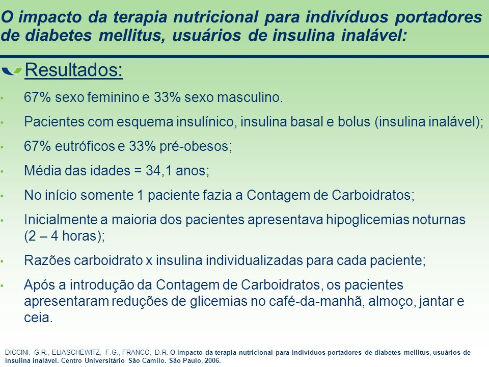 O impacto da terapia nutricional para indivíduos portadores de diabetes mellitus, usuários de insulina inalável: