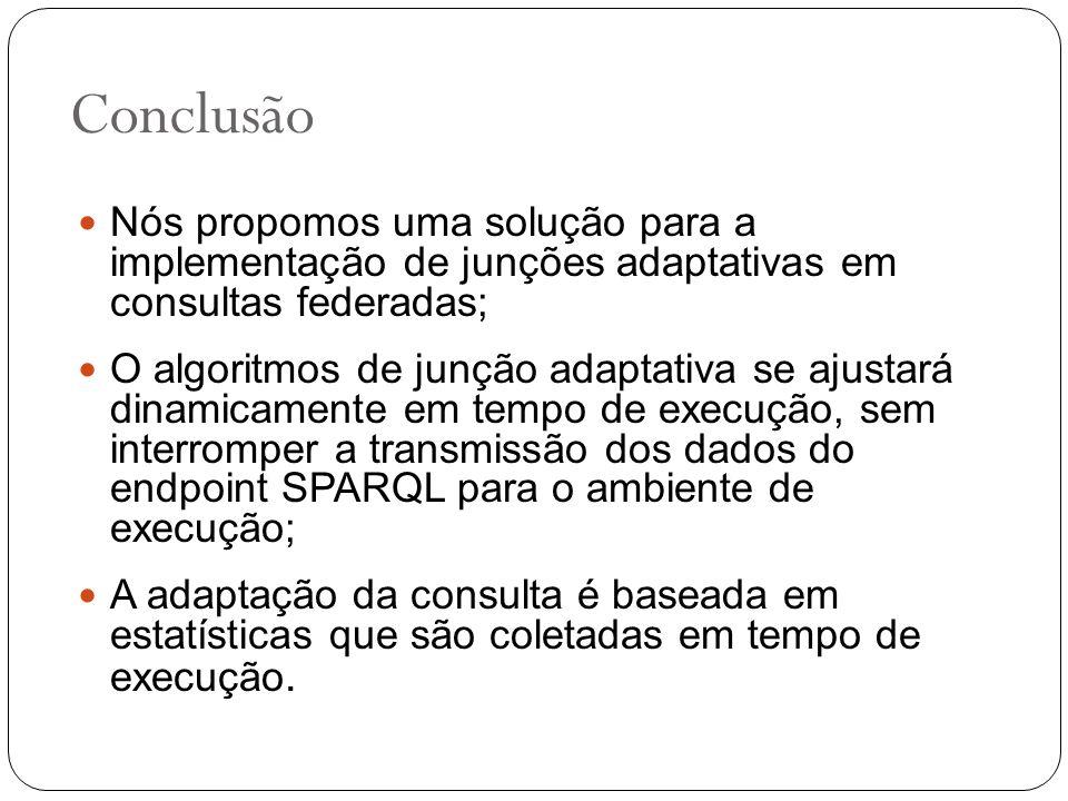 Conclusão Nós propomos uma solução para a implementação de junções adaptativas em consultas federadas;