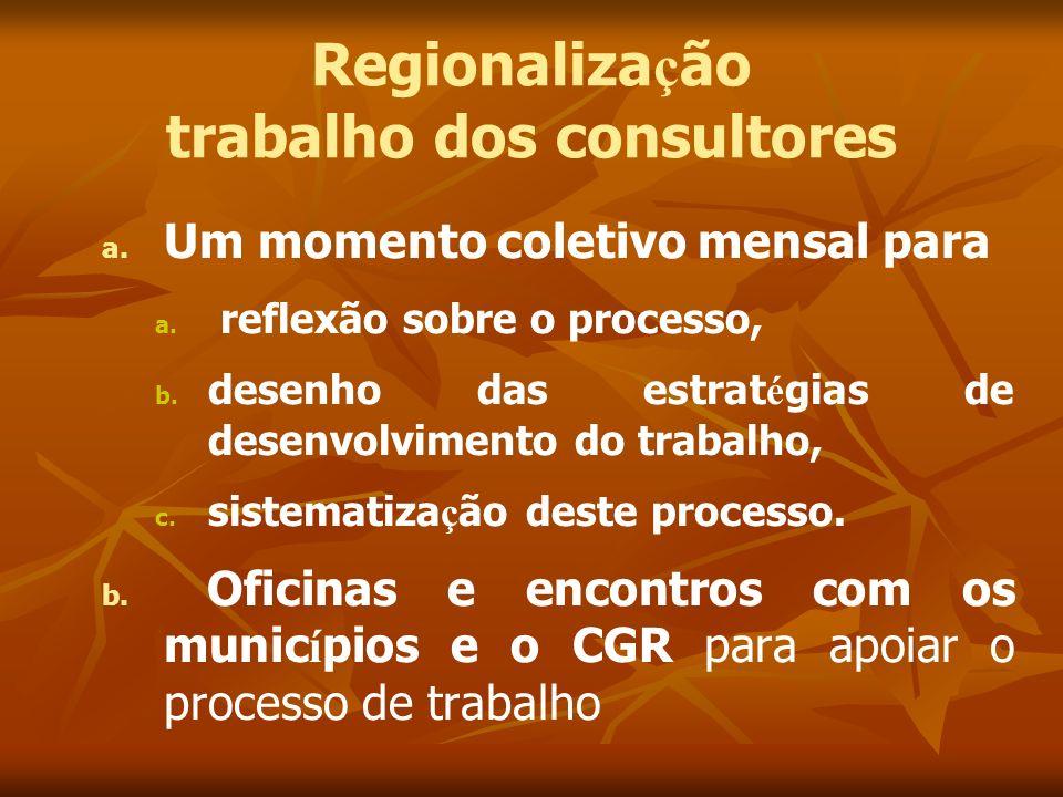 Regionalização trabalho dos consultores