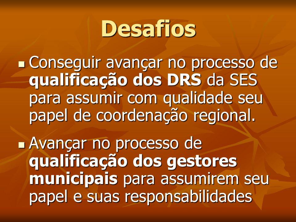 Desafios Conseguir avançar no processo de qualificação dos DRS da SES para assumir com qualidade seu papel de coordenação regional.
