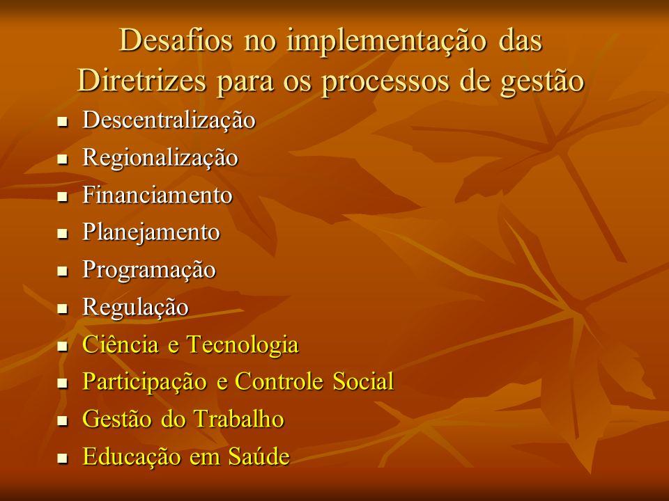 Desafios no implementação das Diretrizes para os processos de gestão