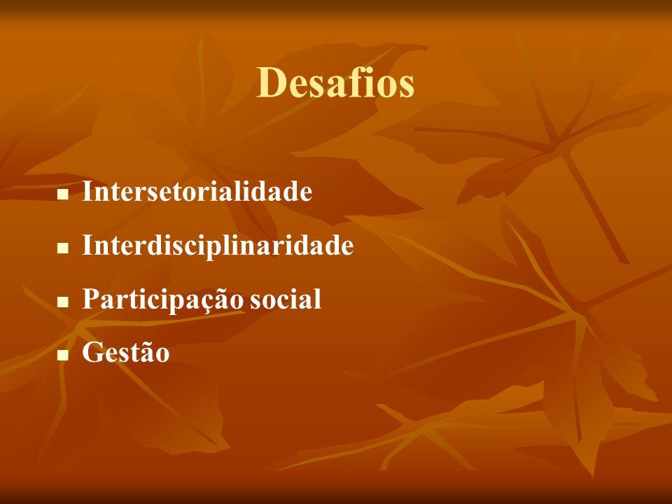 Desafios Intersetorialidade Interdisciplinaridade Participação social