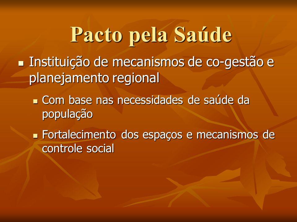 Pacto pela Saúde Instituição de mecanismos de co-gestão e planejamento regional. Com base nas necessidades de saúde da população.