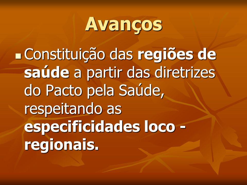 Avanços Constituição das regiões de saúde a partir das diretrizes do Pacto pela Saúde, respeitando as especificidades loco -regionais.