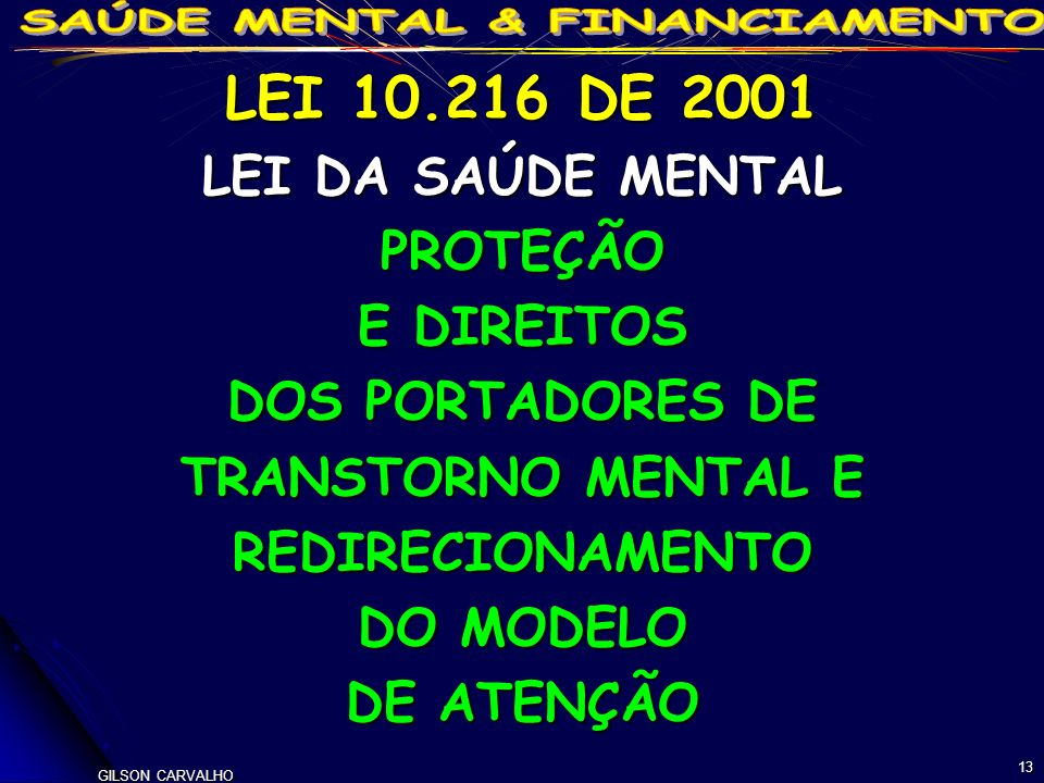 LEI 10.216 DE 2001 LEI DA SAÚDE MENTAL PROTEÇÃO E DIREITOS