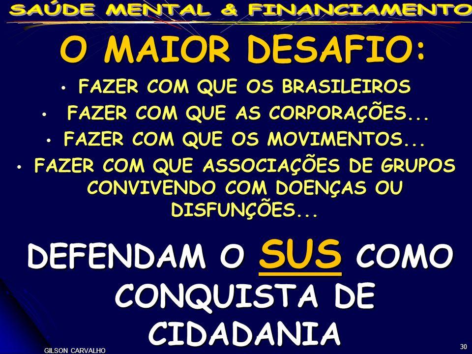 O MAIOR DESAFIO: FAZER COM QUE OS BRASILEIROS