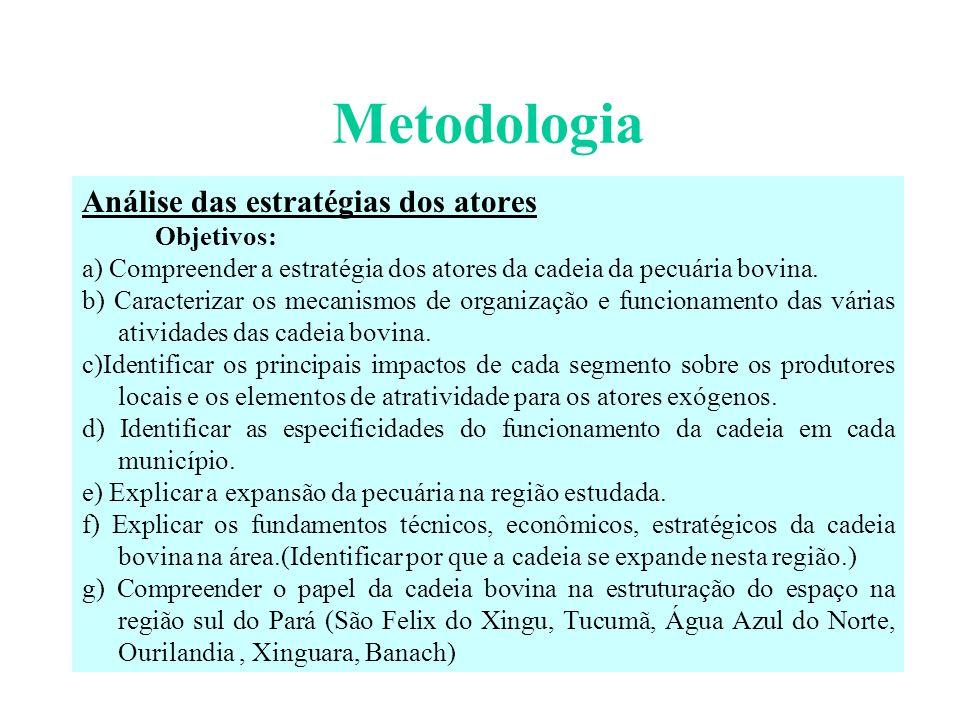 Metodologia Análise das estratégias dos atores Objetivos: