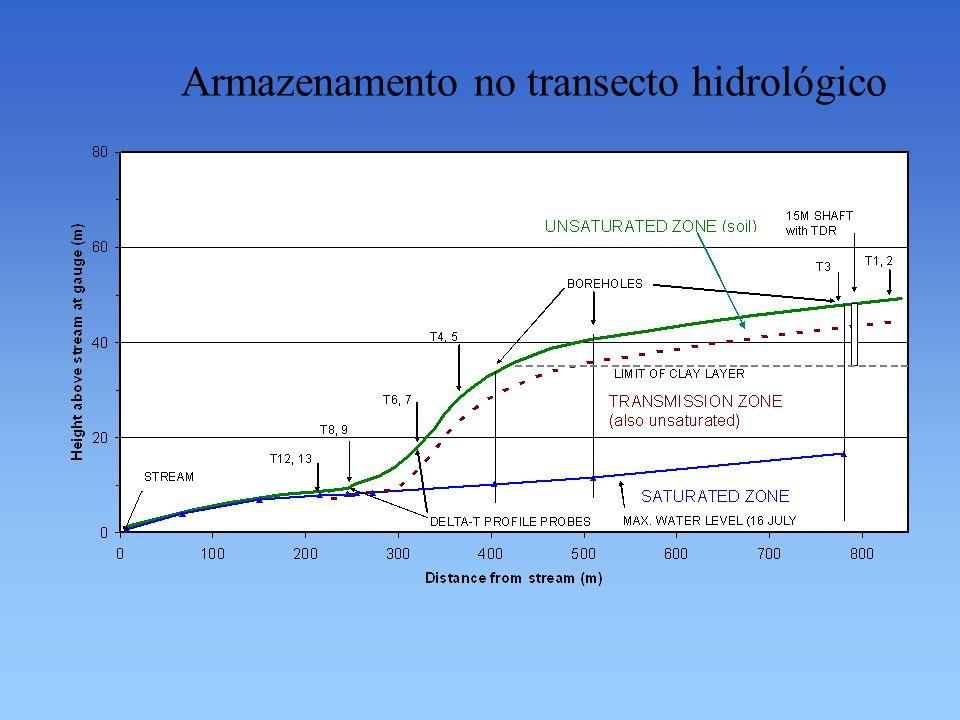 Armazenamento no transecto hidrológico