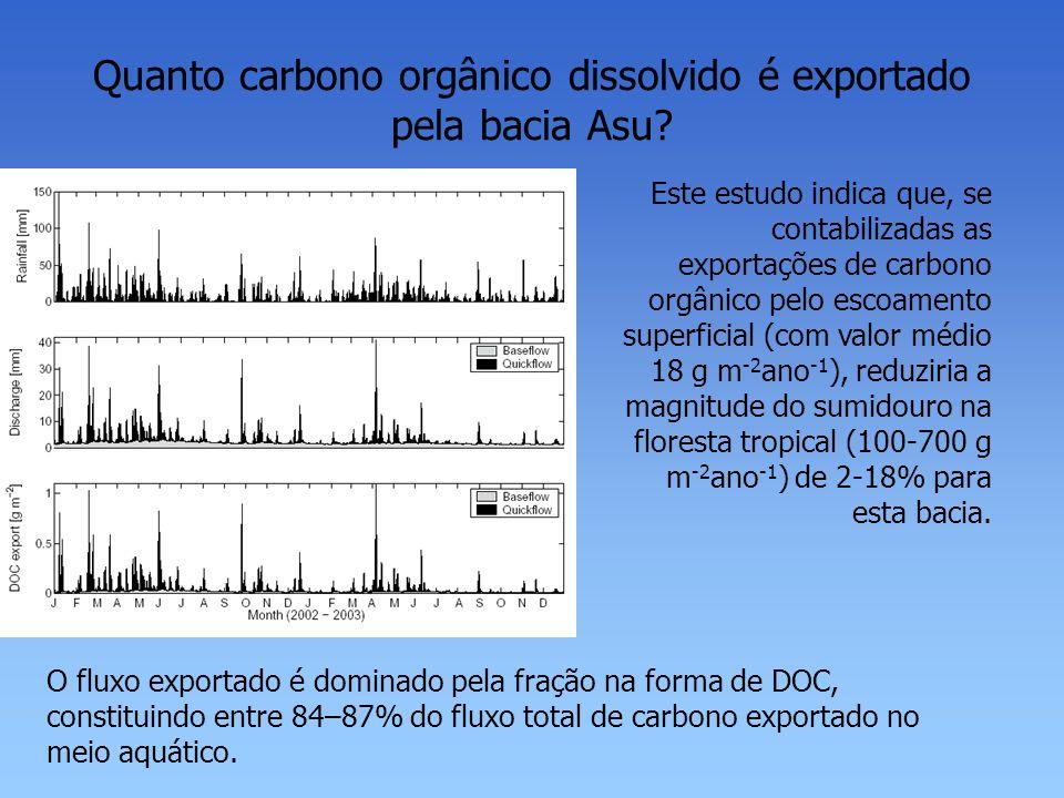 Quanto carbono orgânico dissolvido é exportado pela bacia Asu