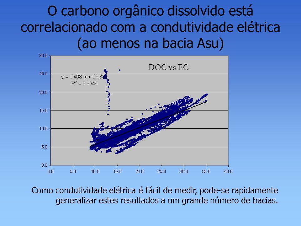 O carbono orgânico dissolvido está correlacionado com a condutividade elétrica (ao menos na bacia Asu)