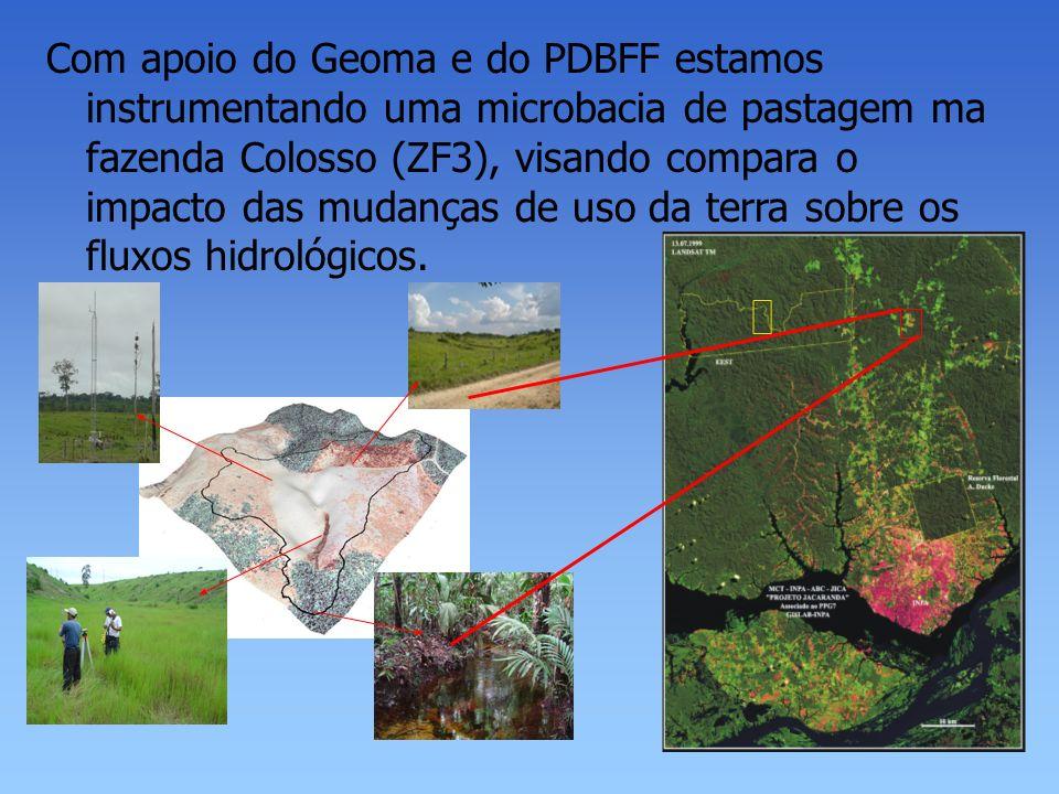 Com apoio do Geoma e do PDBFF estamos instrumentando uma microbacia de pastagem ma fazenda Colosso (ZF3), visando compara o impacto das mudanças de uso da terra sobre os fluxos hidrológicos.
