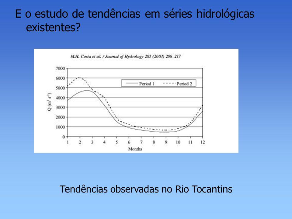 Tendências observadas no Rio Tocantins