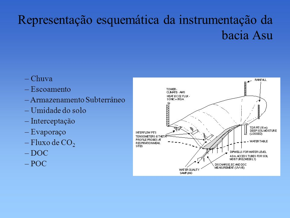 Representação esquemática da instrumentação da bacia Asu