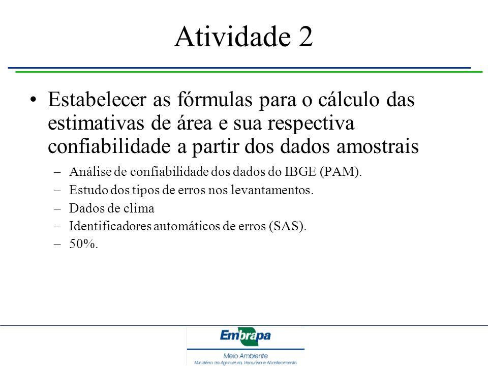 Atividade 2 Estabelecer as fórmulas para o cálculo das estimativas de área e sua respectiva confiabilidade a partir dos dados amostrais.