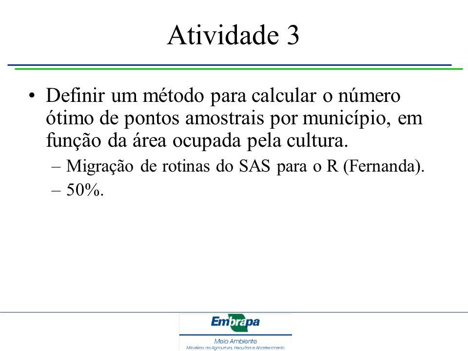Atividade 3 Definir um método para calcular o número ótimo de pontos amostrais por município, em função da área ocupada pela cultura.