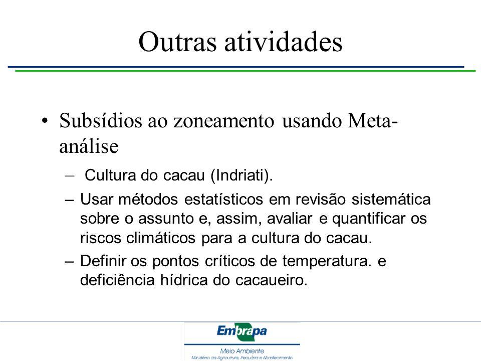 Outras atividades Subsídios ao zoneamento usando Meta-análise